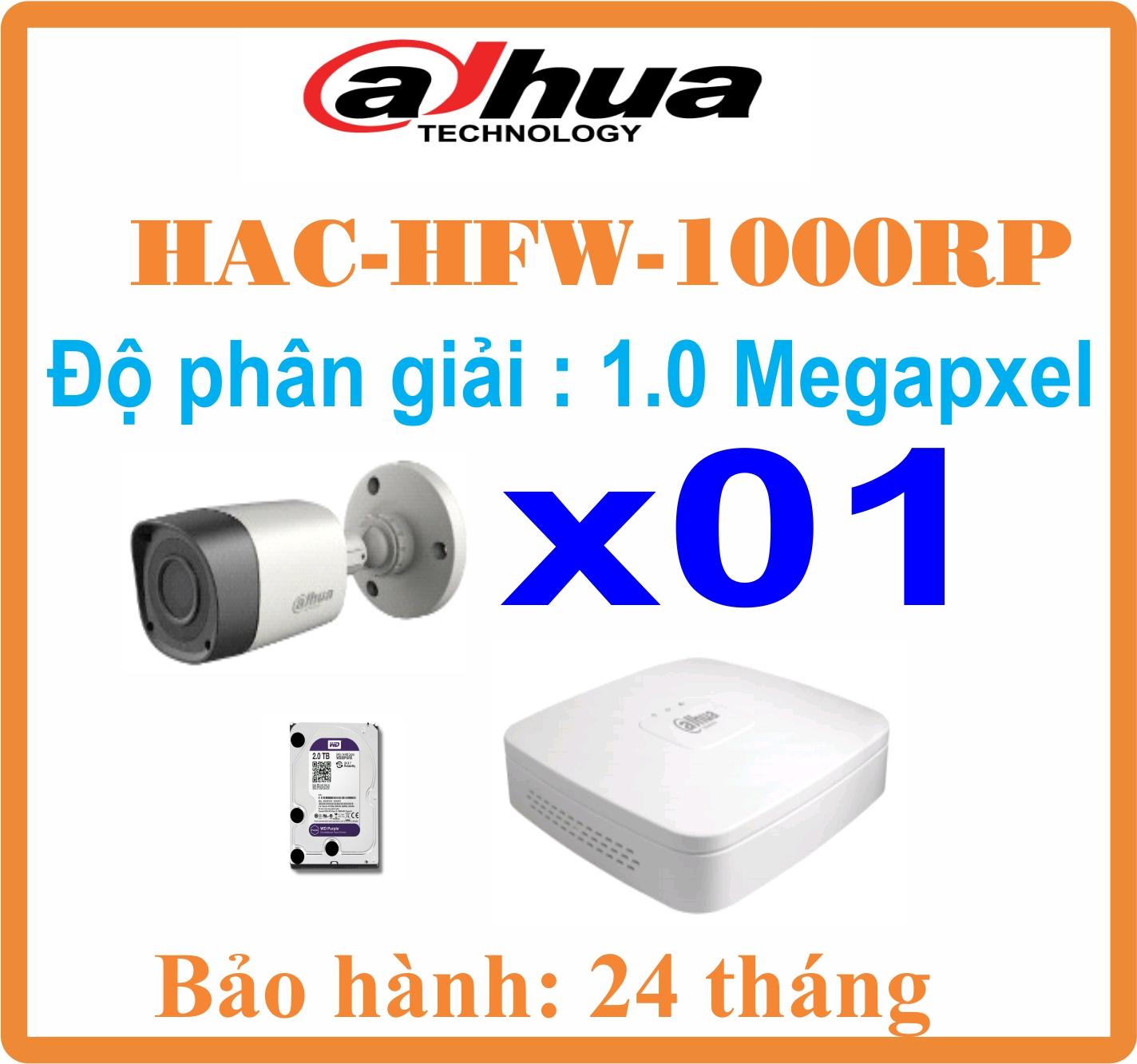 BỘ 01 CAMERA Thân Dahua 1.0 Megapixel