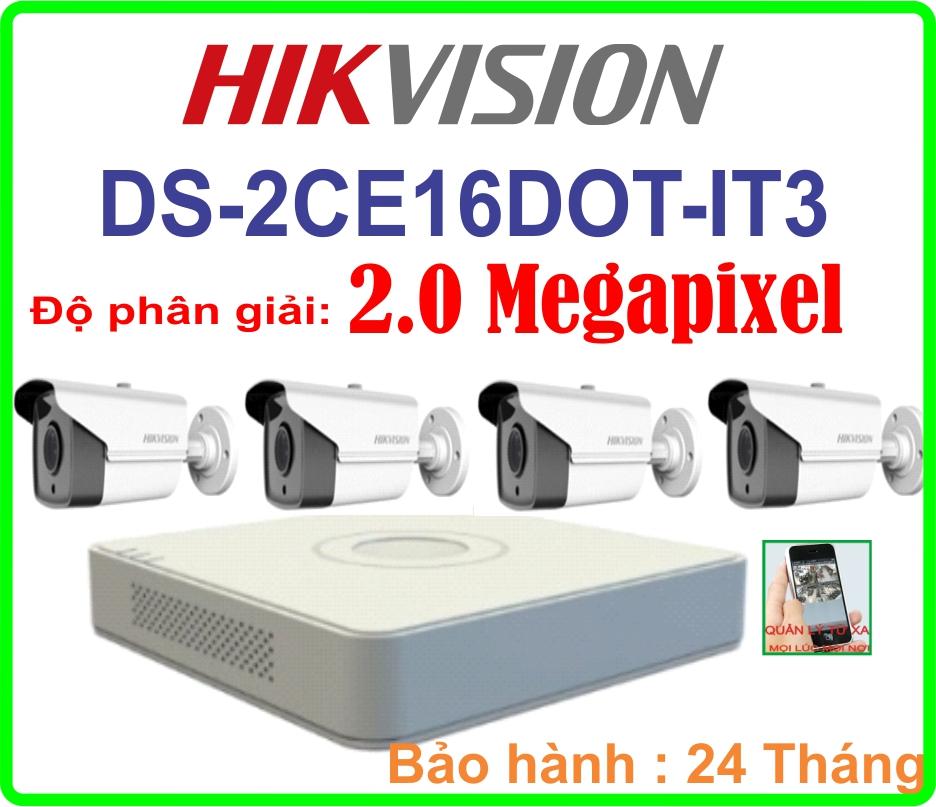 Hệ Thống 4 Camera Khuyến Mãi DS-2CE16DOT-IT3- 04